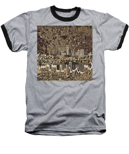 Austin Texas Skyline 5 Baseball T-Shirt by Bekim Art