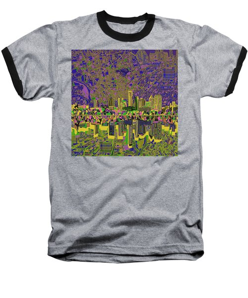Austin Texas Skyline Baseball T-Shirt by Bekim Art