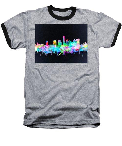 Austin Texas Skyline Watercolor 3 Baseball T-Shirt by Bekim Art