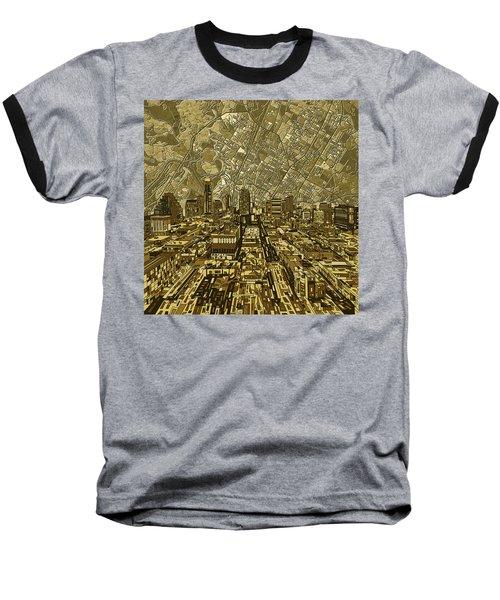 Austin Texas Vintage Panorama Baseball T-Shirt by Bekim Art