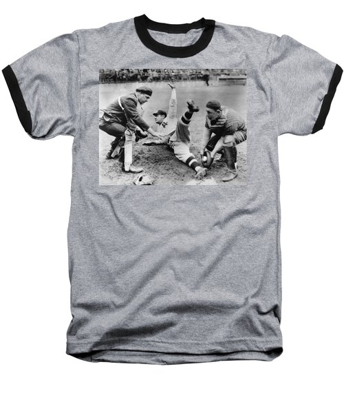 Babe Ruth Slides Home Baseball T-Shirt by Underwood Archives
