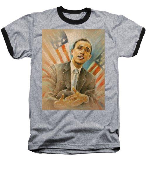 Barack Obama Taking It Easy Baseball T-Shirt by Miki De Goodaboom