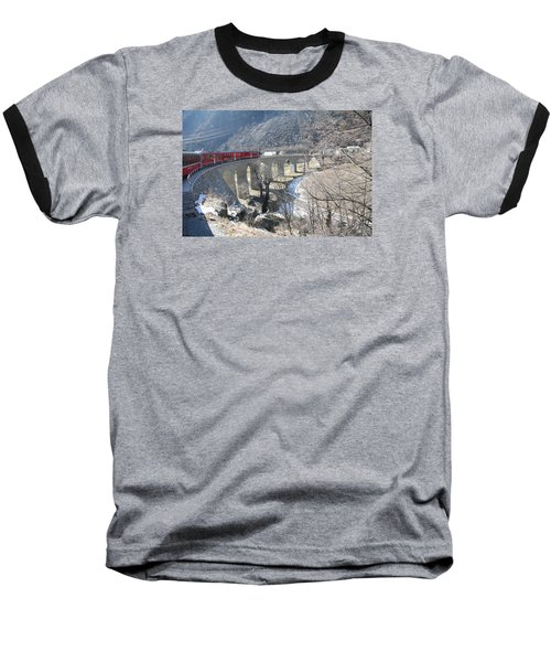 Baseball T-Shirt featuring the photograph Bernina Express In Winter by Travel Pics