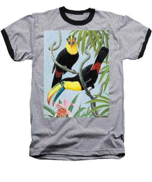Big-beaked Birds Baseball T-Shirt by RB Davis