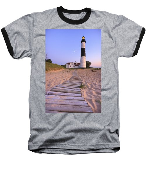 Big Sable Point Lighthouse Baseball T-Shirt by Adam Romanowicz