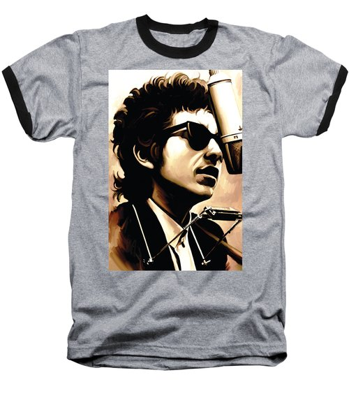 Bob Dylan Artwork 3 Baseball T-Shirt by Sheraz A