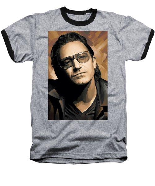 Bono U2 Artwork 2 Baseball T-Shirt by Sheraz A