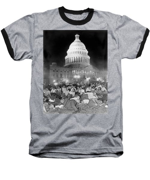 Bonus Army Sleeps At Capitol Baseball T-Shirt by Underwood Archives