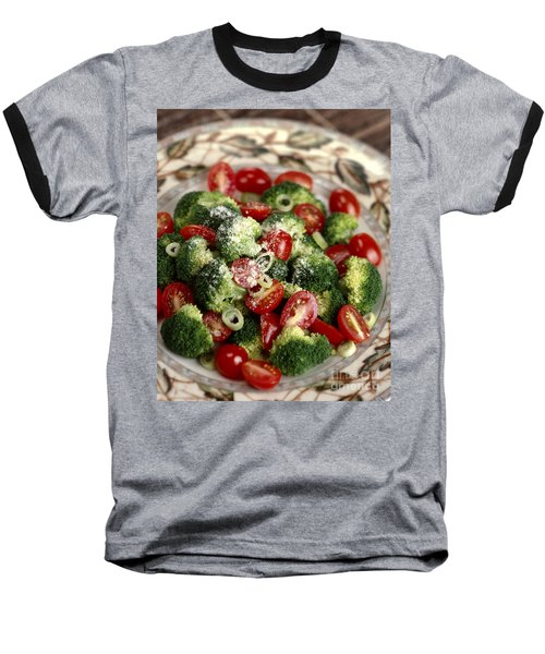 Broccoli And Tomato Salad Baseball T-Shirt by Iris Richardson