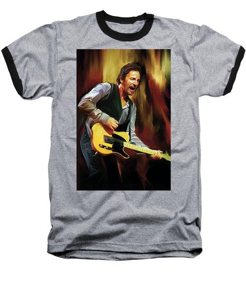 Bruce Springsteen Artwork Baseball T-Shirt by Sheraz A