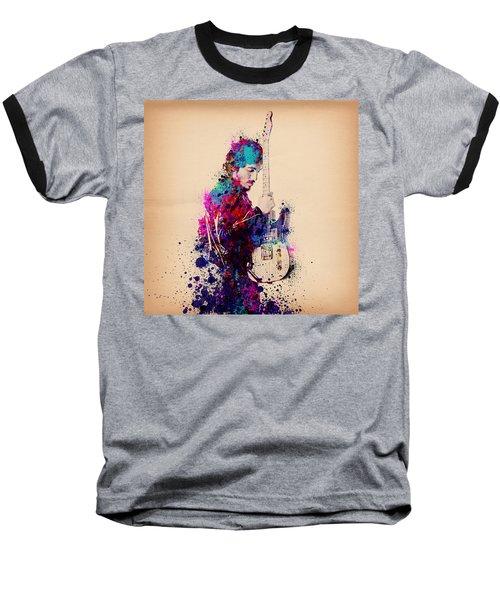 Bruce Springsteen Splats And Guitar Baseball T-Shirt by Bekim Art