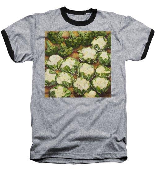 Cauliflower March Baseball T-Shirt by Jen Norton