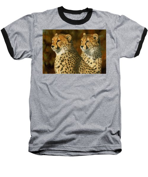 Cheetah Brothers Baseball T-Shirt by David Stribbling