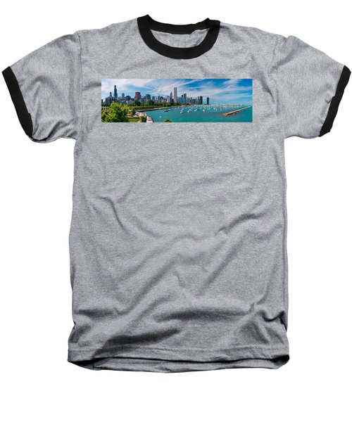 Chicago Skyline Daytime Panoramic Baseball T-Shirt by Adam Romanowicz