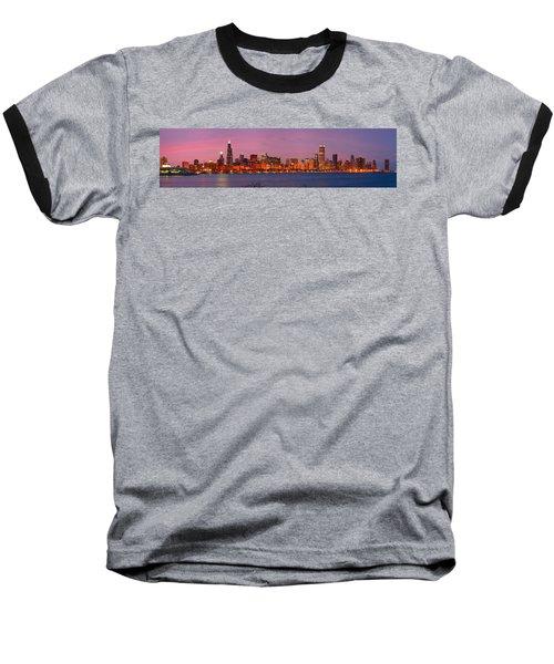 Chicago Skyline At Dusk 2008 Panorama Baseball T-Shirt by Jon Holiday