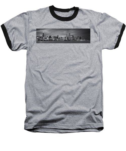 Chicago Skyline At Night Black And White Panoramic Baseball T-Shirt by Adam Romanowicz