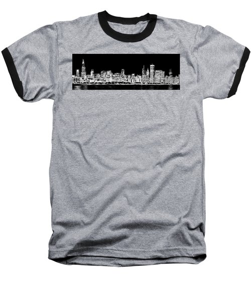 Chicago Skyline Fractal Black And White Baseball T-Shirt by Adam Romanowicz