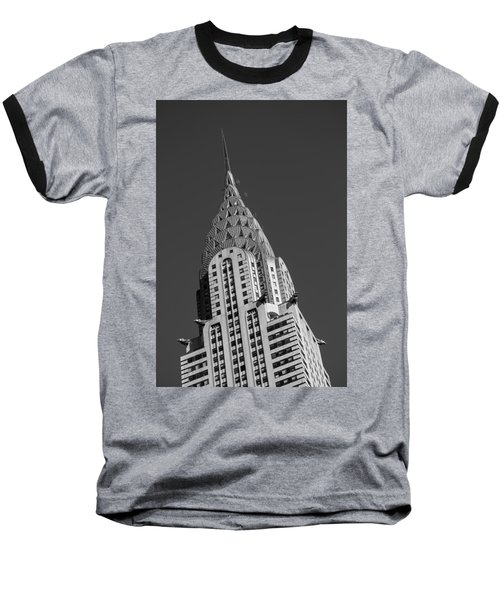 Chrysler Building Bw Baseball T-Shirt by Susan Candelario