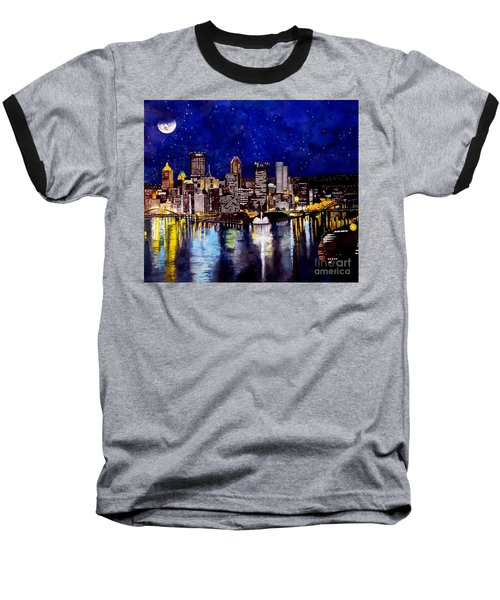 City Of Pittsburgh At The Point Baseball T-Shirt by Christopher Shellhammer