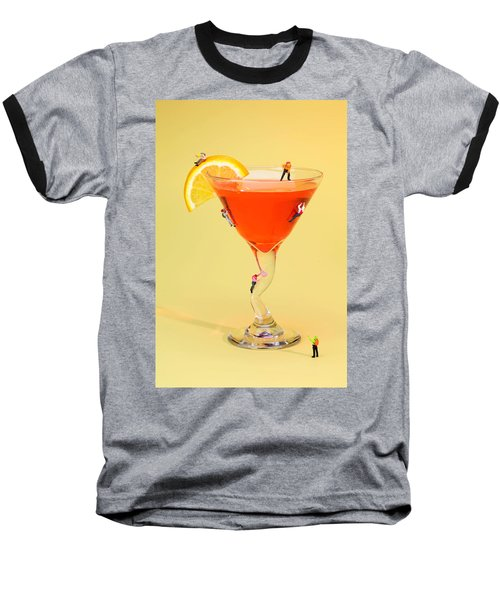 Climbing On Red Wine Cup Baseball T-Shirt by Paul Ge