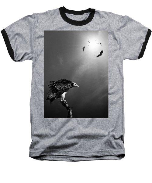 Conceptual - Vultures Awaiting Baseball T-Shirt by Johan Swanepoel