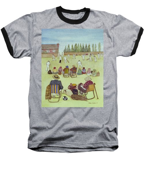 Cricket On The Green, 1987 Watercolour On Paper Baseball T-Shirt by Gillian Lawson
