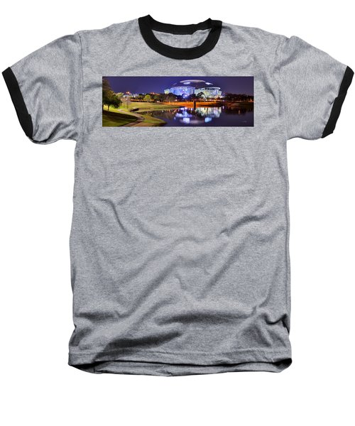 Dallas Cowboys Stadium At Night Att Arlington Texas Panoramic Photo Baseball T-Shirt by Jon Holiday