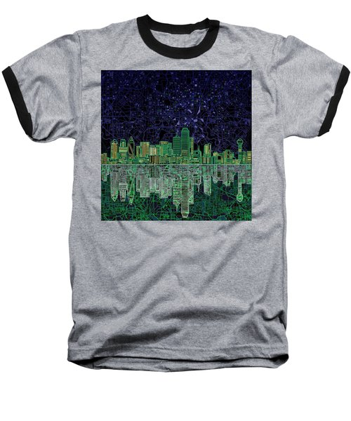 Dallas Skyline Abstract 4 Baseball T-Shirt by Bekim Art