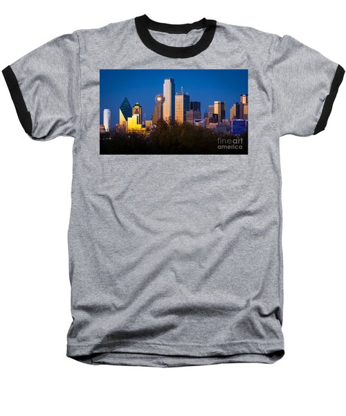 Dallas Skyline Baseball T-Shirt by Inge Johnsson