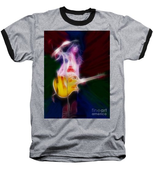 Deff Leppard-adrenalize-joe-gf25-fractal Baseball T-Shirt by Gary Gingrich Galleries