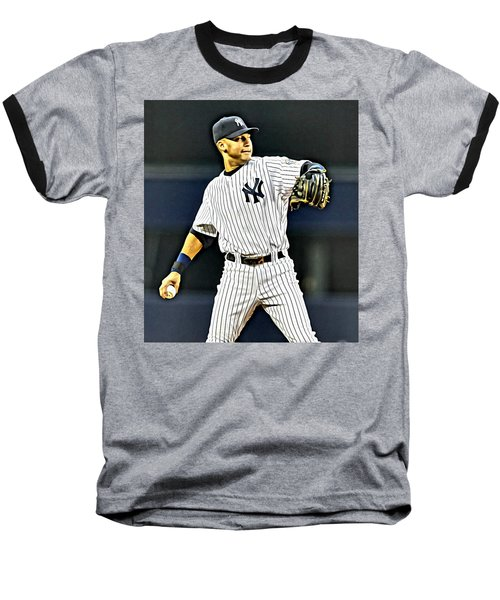 Derek Jeter Baseball T-Shirt by Florian Rodarte