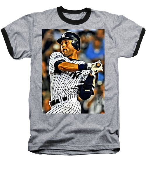 Derek Jeter In Action Baseball T-Shirt by Florian Rodarte
