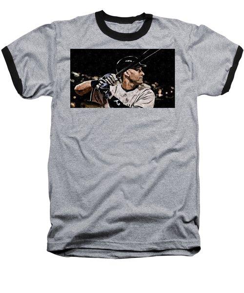 Derek Jeter On Canvas Baseball T-Shirt by Florian Rodarte