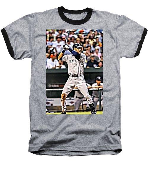 Derek Jeter Painting Baseball T-Shirt by Florian Rodarte