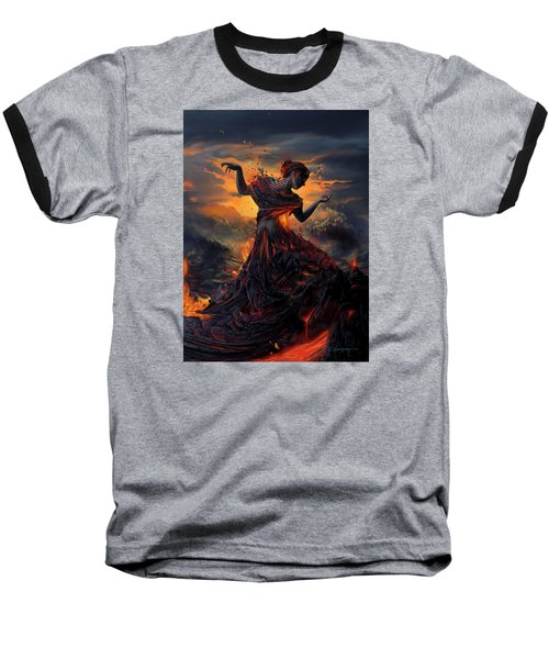 Elements - Fire Baseball T-Shirt by Cassiopeia Art