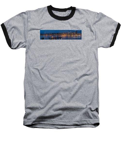 Elliott Bay Seattle Skyline Night Reflections  Baseball T-Shirt by Mike Reid