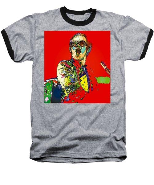 Elton In Red Baseball T-Shirt by John Farr