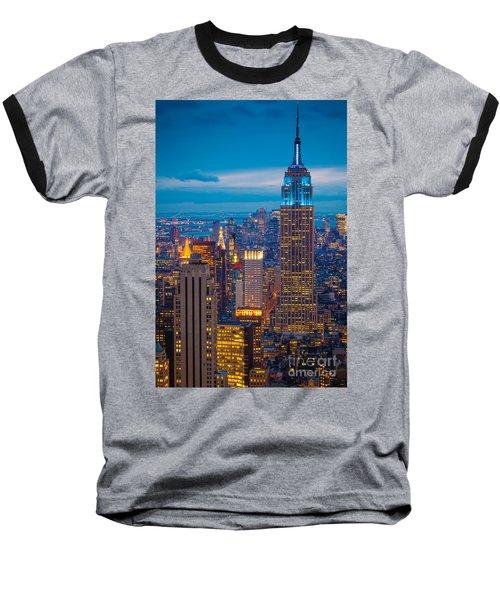 Empire State Blue Night Baseball T-Shirt by Inge Johnsson