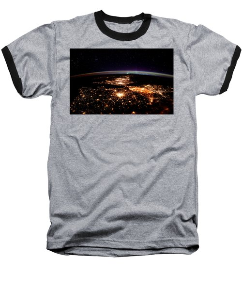 Baseball T-Shirt featuring the photograph Europe At Night, Satellite View by Science Source