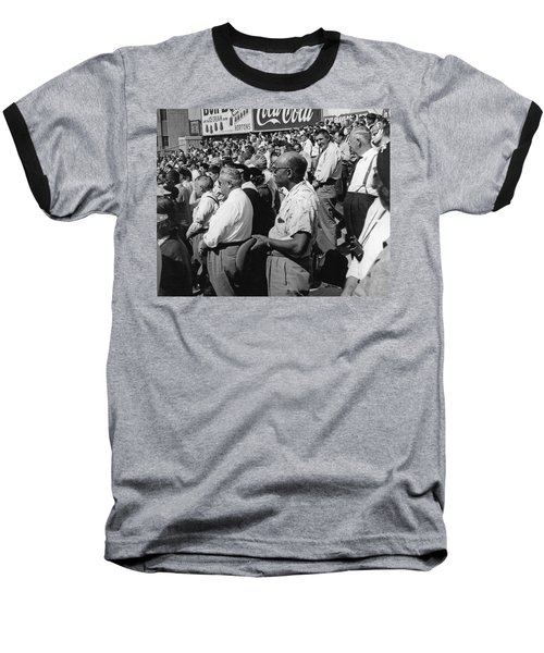 Fans At Yankee Stadium Stand For The National Anthem At The Star Baseball T-Shirt by Underwood Archives