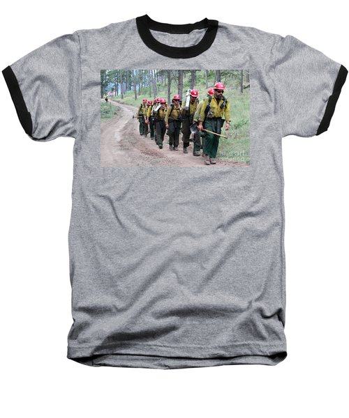 Baseball T-Shirt featuring the photograph Fire Crew Walks To Their Assignment On Myrtle Fire by Bill Gabbert