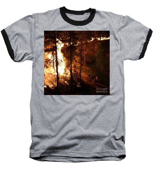 Baseball T-Shirt featuring the photograph Firefighters Burn Out On The White Draw Fire by Bill Gabbert