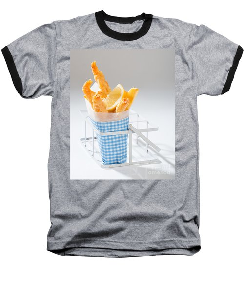 Fish And Chips Baseball T-Shirt by Amanda Elwell