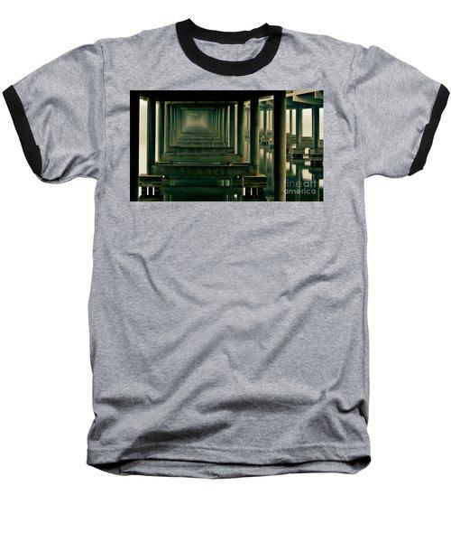 Foggy Morning Under Bridge Baseball T-Shirt by Robert Frederick