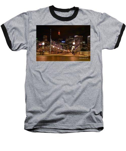 Foot Bridge By Night Baseball T-Shirt by Kaye Menner