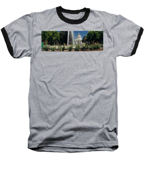 Fountain In A Garden In Front Baseball T-Shirt by Panoramic Images