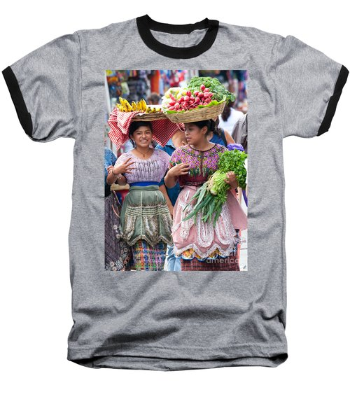 Fruit Sellers In Antigua Guatemala Baseball T-Shirt by David Smith