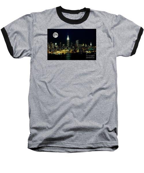 Full Moon Rising - New York City Baseball T-Shirt by Anthony Sacco