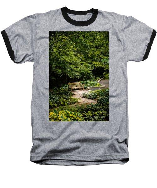 Garden Bench Baseball T-Shirt by Joe Mamer