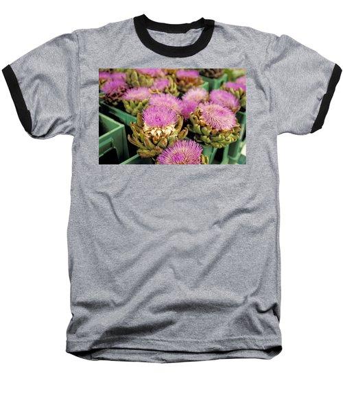 Germany Aachen Munsterplatz Artichoke Flowers Baseball T-Shirt by Anonymous